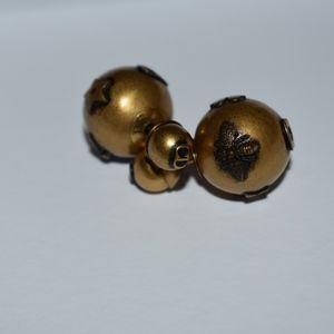 Womens Dior Gold Tone Tribales Earrings